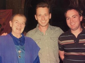 Silas House (middle) with Jean Ritchie, and his partner Jason Howard, editor of literary magazine Appalachian Heritage.