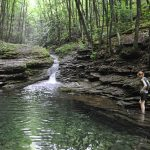 A resident of Big Island, Va., wades into the swimming hole on the Devil's Fork Trail, which hikers encounter before reaching the Devil's Bathtub. Photo by Joe Tennis