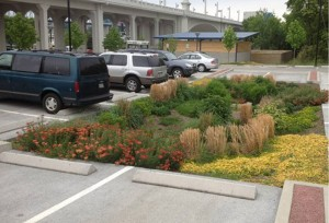 This Renaissance Park Bioretention area in Chattanooga, Tenn., collects water from the parking lot and allows it to infiltrate into the ground. Photo courtesy of the city of Chattanooga