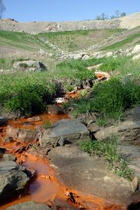 Polluted water runs off a surface mine valley fill in eastern Kentucky. Photo by Matt Wasson