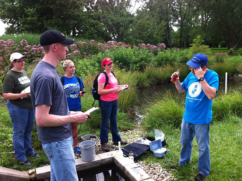 The University of Kentucky's rain garden is used as a living-learning lab for students. Photo courtesy of the University of Kentucky
