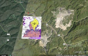 Cropped version of applicant permit map for the Big Creek Surface Mine. Yellow and pink portions represent proposed mining area, and extent of mining pictured dates to late 2014. Image by Appalachian Voices