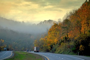 """Foggy Morning Drive"" was taken on Interstate 77 in northern West Virginia by  photographer Rob Carter"