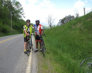 Jim Artis, right, stopped in Haywood County, N.C., to visit with Zeke Yount, left, while on a ride from Maine to Florida. Photo courtesy Zeke Yount.