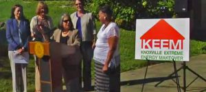 Knoxville Mayor Madeline Rogero (at podium) launches KEEM with homeowner Dorothy Ware (far right), who has already saved 25 percent on her electric bill, with more energy efficiency improvements to come.