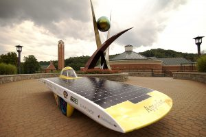 The Apperion solar-powered race car, photo courtesy of Appalachian State University.