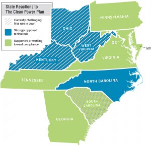 States reactions to the Clean Power Plan. Map by Haley Rogers