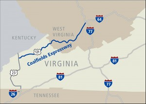 The approximate route of the proposed Coalfields Expressway would traverse southwest Virginia and southern West Virginia. Map courtesy Virginia Department of Transportation