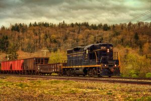 A Baltimore and Ohio train passes through Durbin, W. Va. Photo by Donnie Nunley