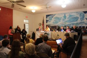 Stokes County, N.C., resident Tracey Edwards speaks in favor of a moratorium on fracking during a meeting of the Walnut Cove Board of Commissioners earlier this month.