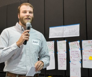 Adam Wells, economic diversification campaign coordinator with Appalachian Voices, at the community forums in  Wise County, October 15, 2015. Click for more pictures