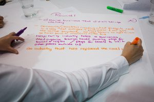 Forum participants broke into small groups to discuss what kinds of economic growth they envision for their community. Photo by Alistair Burke