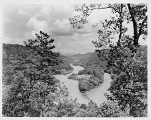 Image of Great Smoky Mountains National Park, left, presumed to be by George Masa.