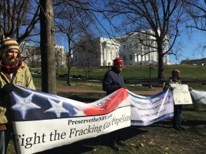 Virginians expressed their opposition to proposed natural gas pipelines in front of the Capitol Building in January.