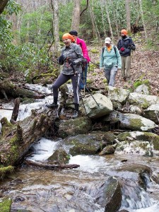 Hikers willing to ford the trail's creek crossings. Photo by Marty Silver, Tennessee State Parks