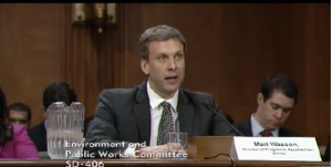 Matt Wasson testifying at the Senate Environment and Public Works Committee hearing
