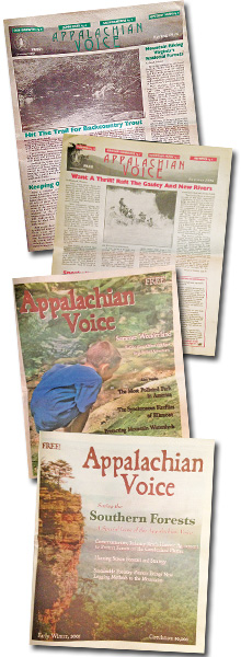 Some of the early issues of The Appalachian Voice, which first appeared on newsstands in February 1996.
