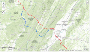 The proposed realignment (in blue) of the Atlantic Coast Pipeline through the George Washington National Forest impacts new areas of Pocahontas County, W.Va., and Bath, Highland and Augusta counties in Virginia.