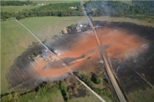Citizens living along the routes of the proposed pipelines are worried about the risks, such as the damage caused by an explosion along the Transco line in 2008, near Appomattox, Va. Photo courtesy of Allegheny Blue-Ridge Alliance