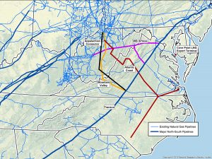 Central and southern Appalachia are covered by a network of existing pipelines, shown above in blue lines. Plans are underway to add several major pipelines to this web, shown in different colored lines. Not shown are the compressor stations and power plants across the region. Map by Dominion Pipeline Monitoring Coalition