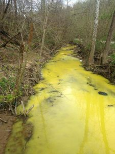 A creek in Martin County, Ky., ran bright yellow in April. The state claimed that yellow highway-marking paint was to blame. Photo via Facebook