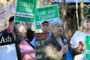 Members of the Alliance of Carolinians Together (ACT) Against Coal Ash hold a press conference outside of a public hearing in March.
