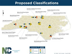 A map showing the N.C. Department of Environmental Quality's risk classifications for coal ash ponds across the state.