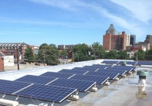 A solar project designed to test North Carolina's ban on third-party electricity sales catches some rays on the roof of a Greensboro church. Photo courtesy of NC WARN.
