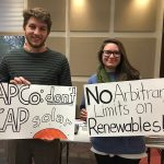 Citizens are calling on their power companies to increase access to renewable energy in creative ways.  Appalachian Power Company customers attend a grassroots meeting to oppose extra charges and size limits on solar in Virginia. Photo by Hannah Wiegard.