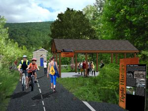 Perspective of a historic coal tipple site reimagined with the addition of a Riverwalk walking and biking trail.