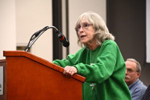 Barbara Morales of Belmont, N.C., speaks about coal ash cleanup at a public hearing. Photo by Appalachian Voices
