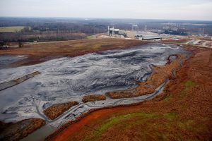 The Buck Steam Station coal ash impoundment in North Carolina. Photo © Les Stone / Greenpeace