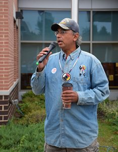 Andrew Tyler, from the Cherokee and Pamunkey nations and a representative of the Coalition of Woodland Nations, gave words of support to local residents and discussed the importance of fighting pipelines across the country for native peoples before the public hearing started.