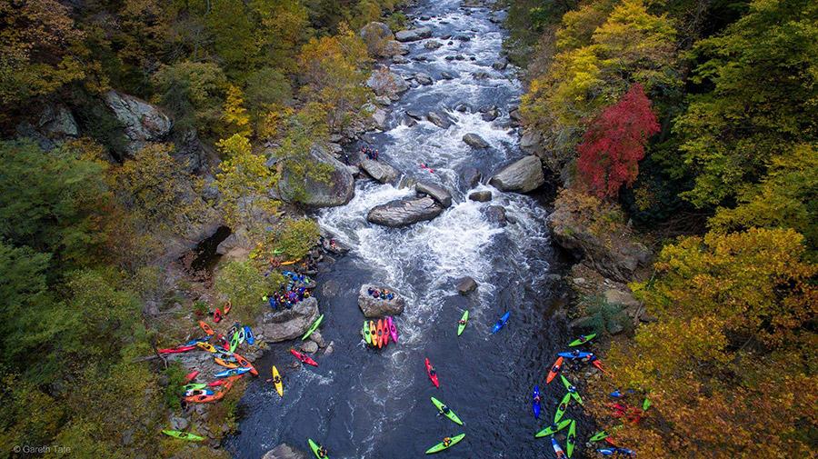 Kayakers at race finish