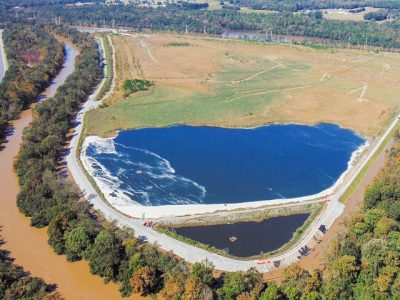 More than a million tons of coal ash at Duke Energy's H.F. Lee plant along the Neuse River were submerged by flood waters after Hurricane Matthew. Photo on Flickr by Waterkeeper Alliance