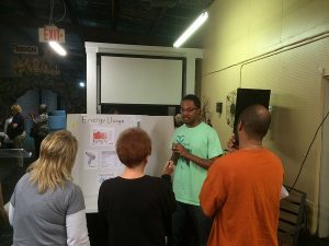 During canvassing, SEEED invites the community to an energy efficiency workshop. Photo courtesy of SEEED