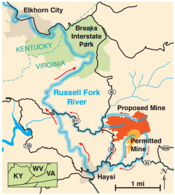 A map of the Doe Branch Mine and watershed connections to the Russell Fork River. At a recent hearings Southwest Virginians shared their concerns about Doe Branch with state regulators.