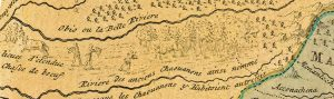 Lamar Marshall compares archival materials like this 1759 hand-drawn map to archival journals and land surveys to help find the location of old Cherokee trails and towns. Scan courtesy of Lamar Marshall