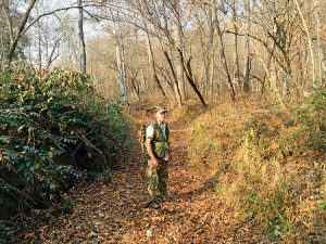 """""""This trail system is the circuitry and the main arteries of all the main transportation systems today, especially the older transportation systems,"""" Lamar Marshall says, standing in an ancient Cherokee footpath later used as a U.S. Army wagon road and a Trail of Tears corridor. Photo by Kevin Ridder"""