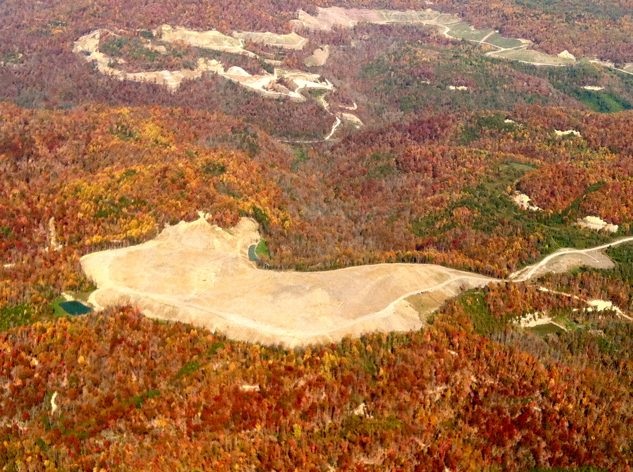 A former surface mining site in Tennessee. Photo taken October 2012, flight courtesy Southwings