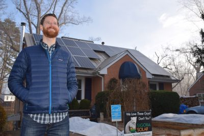 Peter outside his landlords' home in Charlottesville.