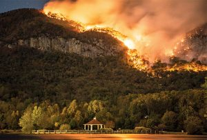 The Party Rock Fire rages near Lake Lure, N.C., in November.  Photo by John Cayton