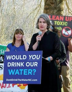 Caroline Armijo speaks about cleaning up coal ash in North Carolina. Photo courtesy of Caroline Rutledge Armijo.