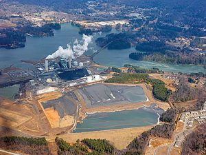 Coal ash stored at Duke Energy's power plant in Asheville, N.C., was used as structural fill at the city's airport. Photo © Copyright 2011 Roy Tennant, FreeLargePhotos.com
