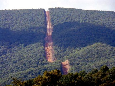 Example of a pipeline right-of-way corridor through the mountains. Photo courtesy of Rick Webb