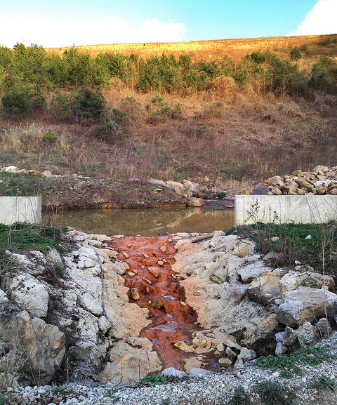 """A reconstructed """"stream"""" below a surface mine in Central Appalachia. The Stream Protection Rule was intended to safeguard streams and people by reining in the ravages of mountaintop removal."""