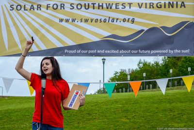 Lydia Graves, with Appalachian Voices, at the 2017 Solar Fair in Southwest Virginia.