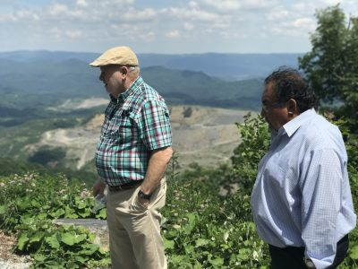 Stanley Sturgill, of Kentuckians for the Commonwealth and Rep. Grijalva view the Looney Ridge Mine.