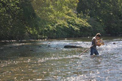 Boy fishing on South Toe