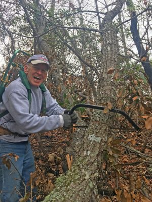 Trail-building volunteer